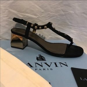 Lanvin Black and Gold Heeled Sandals.  Size 40.5